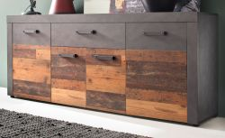 Sideboard Indy in Used Wood Shabby mit Matera grau Kommode 178 x 77 cm