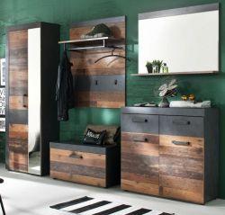 Garderoben Set Indy 5-teilig in Old Used Wood Vintage mit Garderobenschrank 265 x 192 cm