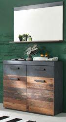 Garderobe Indy 2-teilig in Used Wood Shabby mit Matera grau 90 x 192 cm mit Schuhschrank und Spiegel