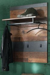 Garderobenpaneel Indy in Used Wood Shabby mit Matera grau 80 x 106 cm