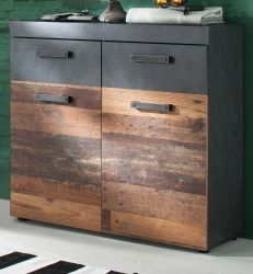 Kommode Indy in Used Wood Shabby mit Matera grau Schuhschrank 90 x 89 cm