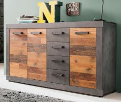 Sideboard Indy in Used Wood Shabby und Matera grau Kommode 151 x 86 cm