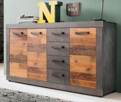 Sideboard Indy in Used Wood Shabby und Matera grau Kommode 151 x 86 cm mit 4 Schubkästen