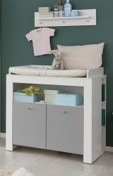 Babyzimmer Wickelkommode Wilson in weiß und grau Wickeltisch 96 x 103 cm