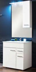 Badmöbel komplett Set Minka echt Lack Hochglanz weiß inkl. Waschbecken, Spiegel, Schrank und Beleuchtung 60x197 cm