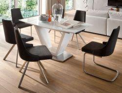 Esstisch Ilko in Hochglanz weiß echt Lack Säulentisch ausziehbar 160 / 220 x 90 cm mit Synchronauszug