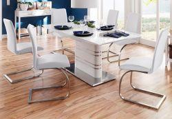 Esstisch Modus in Hochglanz weiß echt Lack Säulentisch ausziehbar 180 / 220 x 90 cm mit Synchronauszug