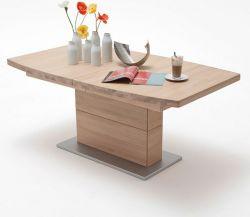 Esstisch Corato in Eiche Bianco massiv geölt / gewachst Säulentisch 140 / 180 / 220 x 90 cm Bootsform ausziehbar