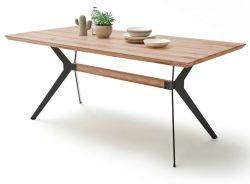 Esstisch Kito in Wildeiche massiv Tisch mit Metallgestell in Antiklook 200 x 100 cm