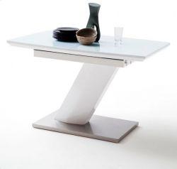Esstisch Galina in Hochglanz weiß echt Lack mit Synchronauszug 120 / 160 x 80 cm Säulentisch ausziehbar