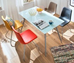 Esstisch Zola Glastisch in weiß mit Chrom Küchentisch140 x 80 cm