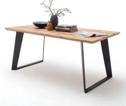 Esstisch Janek in Wildeiche massiv Tisch mit Metallgestell in Antiklook 180 x 90 cm Kufentisch