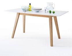 Esstisch Cervo in matt weiß echt Lack mit Asteiche massiv Küchentisch 160 x 80 cm