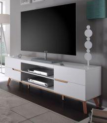 TV-Lowboard Cervo in matt weiß echt Lack mit Asteiche massiv Fernsehtisch 169 x 56 cm