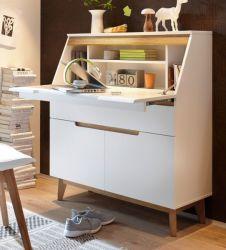 Sekretär Cervo in matt weiß echt Lack mit Asteiche massiv Schreibtisch 97 x 113 cm