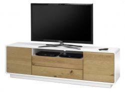 TV-Lowboard Toulon in matt weiß echt Lack mit Asteiche massiv Fernsehtisch 188 x 55 cm