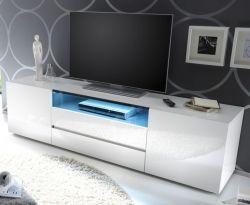 TV-Lowboard Vicenza in Hochglanz weiß echt Lack TV-Unterteil 185 x 49 cm