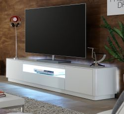 TV-Lowboard Menton in matt weiß echt Lack Fernsehtisch 180 x 47 cm inkl. rückseitige LED Beleuchtung