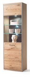 Vitrine Espero in Asteiche Bianco massiv geölt Vitrinenschrank Türanschlag rechts 64 x 201 cm