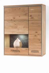 Hängevitrine Espero in Asteiche Bianco massiv geölt Hängeschrank Vitrinenfach links 94 x 120 cm