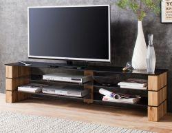TV-Lowboard Kari in Asteiche massiv und Glas Fernsehtisch 140 x 40 cm
