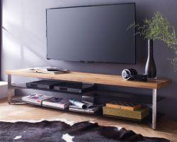TV-Lowboard Fabia in Asteiche massiv und Glas Fernsehtisch 180 x 40 cm