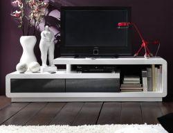 TV-Lowboard Celia in Hochglanz weiß und grau TV-Unterteil 170 x 45 cm