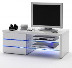 TV-Lowboard Sonia in Hochglanz weiß echt Lack TV-Unterteil inkl. LED Beleuchtung 110 x 42 cm