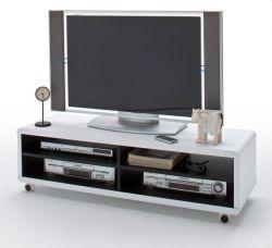 TV-Lowboard Jeff in matt weiß und schwarz Fernsehtisch auf Rollen 120 x 35 cm