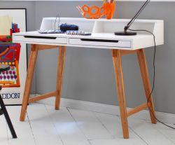 Schreibtisch Tiffy weiß matt lackiert und Massivholz für Homeoffice und Büro 110 x 58 cm