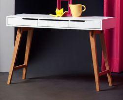 Schreibtisch Anneke matt weiß lackiert und Massivholz für Homeoffice und Büro 120 x 40 cm