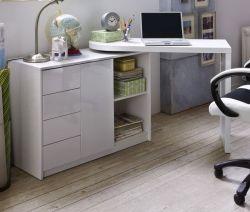 Schreibtisch in Hochglanz weiß lackiert schwenkbarer Laptoptisch Matt für Homeoffice und Büro 108 ( 166 ) x 50 cm