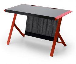 Schreibtisch McRacing in matt schwarz und rot lackiert Laptoptisch für Homeoffice und Büro 127 x 60 cm