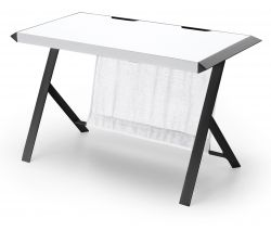 Schreibtisch McRacing in matt weiß und schwarz lackiert Laptoptisch für Homeoffice und Büro 127 x 60 cm