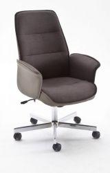 Bürostuhl Jaron in grau / braun mit Wippmechanik Chefsessel bis 120 kg