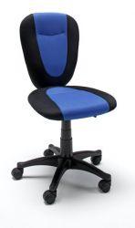 Bürostuhl Falk in schwarz und blau Drehstuhl auf Rollen 47 x 85 cm