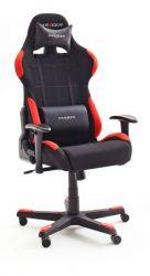 Bürostuhl DX-Racer in schwarz und rot mit Wippmechanik Chefsessel inkl. 2 verstellbarer Stützkissen Gaming Stuhl