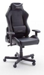 Bürostuhl DX-Racer in Kunstleder schwarz mit Wippmechanik Chefsessel inkl. 2 verstellbarer Stützkissen Gaming Stuhl
