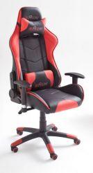 Bürostuhl Mc Racing in Kunstleder schwarz und rot mit Wippmechanik Chefsessel inkl. 2 verstellbarer Stützkissen Gaming Stuhl