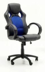 Bürostuhl Ricky in schwarz und blau mit Wippmechanik Drehsessel auf Rollen 60 x 107 cm Gaming Stuhl