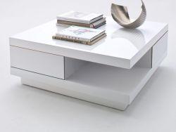 Couchtisch Abby in Hochglanz weiß lackiert Wohnzimmertisch mit Schubkästen 85 x 85 cm quadratisch