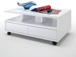 Couchtisch Chris in Hochglanz weiß lackiert Wohnzimmertisch mit Schubkästen 100 x 60 cm auf Rollen