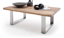 Couchtisch Sagano in Zerreiche massiv geölt mit Edelstahl Kufentisch 120 x 75 cm Wohnzimmertisch Eiche