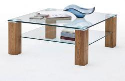 Couchtisch Alma mit Glastischplatte und Asteiche Wohnzimmertisch mit Ablage quadratisch 90 x 90 cm
