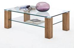 Couchtisch Alma mit Glastischplatte und Asteiche Wohnzimmertisch mit Ablage rechteckig 110 x 70 cm