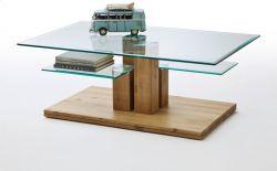 Couchtisch Tonia in Asteiche massiv mit Glastischplatte Wohnzimmertisch 110 x 70 cm mit 2 Ablagen