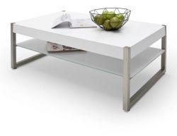 Couchtisch Migel in matt weiß lackiert mit Edelstahl Kufentisch Wohnzimmertisch mit Glasablage rechteckig 105 cm