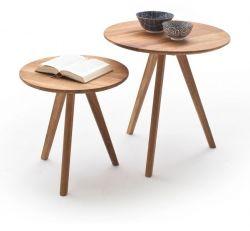Beistelltisch Genny 2er Set in Asteiche massiv geölt 2 Tische Eiche Wohnzimmer Couchtisch