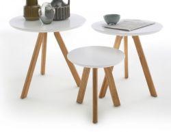 Couchtisch Sinio 3er Set in weiß matt lackiert und Asteiche massiv geölt 3 Tische Eiche Wohnzimmer Beistelltisch