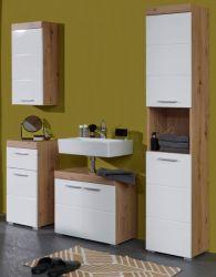 Badezimmer Badmöbel Set Amanda Hochglanz weiß und Eiche Asteiche Badkombination 4-teilig 163 x 190 cm